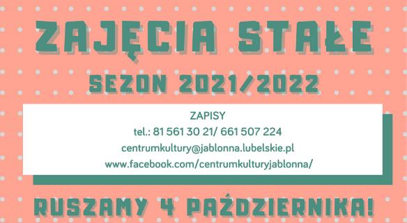 Informacja o zajęciach stałych w Centrum Kultury Gminy Jabłonna.